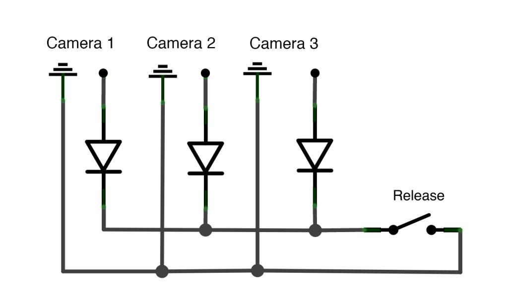 Passive circuit for triggering cameras